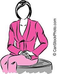woman ügy, ábra, ülés
