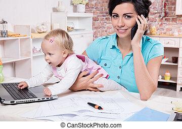 woman ügy, neki, laptop, csecsemő lány