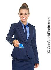 woman ügy, odaad, hitel, mosolygós, kártya