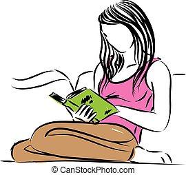 woman ül, ábra, vektor, olvasókönyv