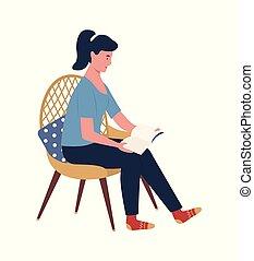woman ül, könyv, hardcover, szék, felolvasás