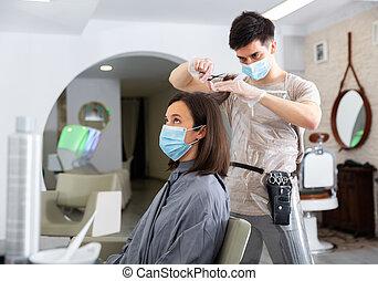 woman arc, használ, maszk, hajvágás, fogadószoba, ember