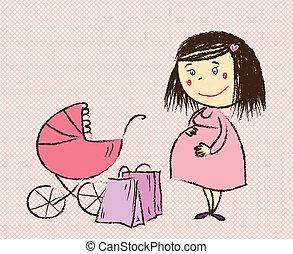 woman bevásárol, őt jár, terhes