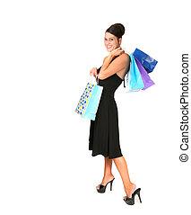 woman bevásárol, fekete, alkalom, szexi, különleges
