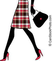 woman bevásárol, handbag., business., ábra, vektor, szexi, combok