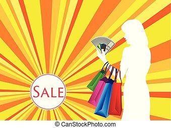 woman bevásárol, készpénz kártya
