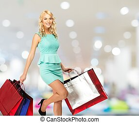 woman bevásárol, pantalló, fiatal, mosolygós, szőke, ruhabolt