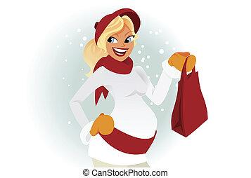 woman bevásárol, tél, terhes