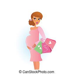 woman bevásárol, terhes