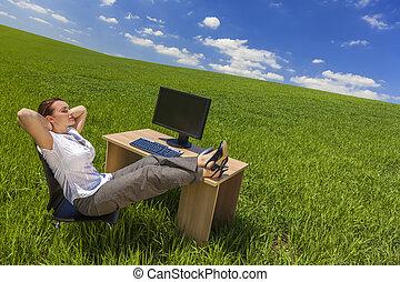 woman ellankad, üzletasszony, íróasztal, zöld terep