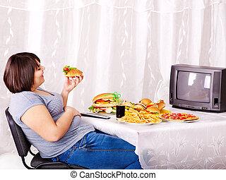 woman eszik, őrzés, élelmiszer, gyorsan, tv.
