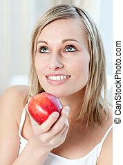 woman eszik, alma, gyönyörű