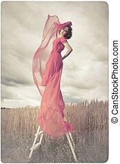 woman fogad, piros ruha, gyönyörű