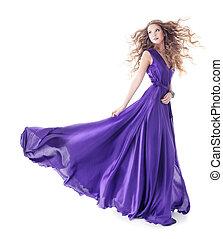woman jár, felett, selyem, háttér, elszigetelt, hullámzás, bíbor ruha, fehér