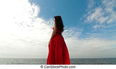woman jár, lefelé, piros ruha