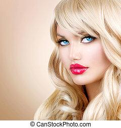 woman lány, haj, portrait., szőke, hullámos, hosszú, gyönyörű, szőke