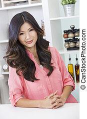 woman lány, kínai, konyha, ázsiai
