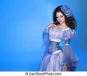 woman lány, mód, szépség, portrait., felett, fárasztó, formál, blue., sifón, ruha, gyönyörű