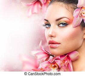 woman lány, szépség, arc, flowers., orhidea, gyönyörű