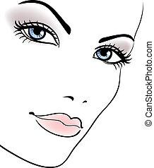 woman lány, szépség, arc, portré, vektor, gyönyörű