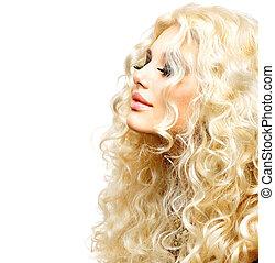 woman lány, szépség, hair., göndör, egészséges, hosszú, szőke