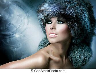 woman lány, tél, fashion., hat., gyönyörű, szőr
