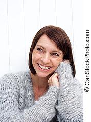 woman mosolyog, idősebb