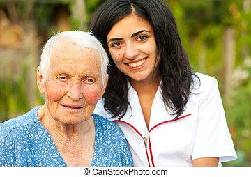 woman orvos, öregedő, szabadban