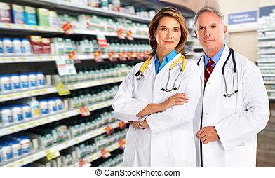 woman., orvos, gyógyszerész, befog