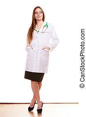 woman orvos, orvosi health, törődik, stethoscope.