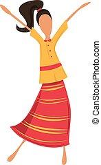woman táncol, csípőre szabott, retro, ruha, vagy