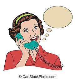 woman társalgás, telefon, popart, retro, komikus