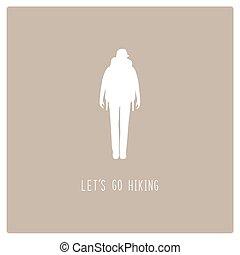 woman természetjárás, szöveg, cégtábla., backpacker, dél, elereszt