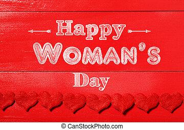 womans, erdő, háttér, üzenet, nap, piros, boldog