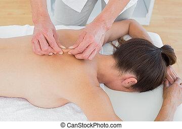 woman's, physiotherapist, hím, hát, masszázs