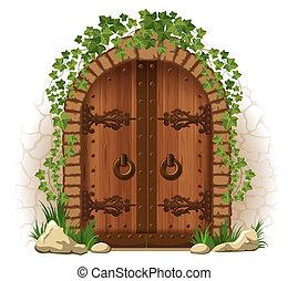 wooden ajtó, repkény