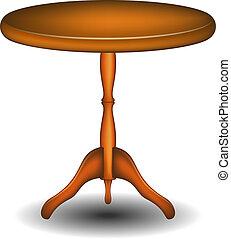 wooden asztal, kerek