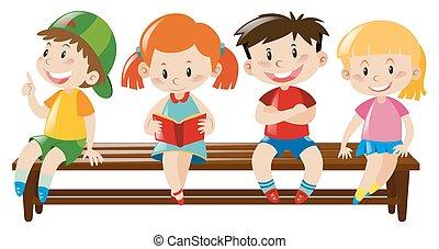 wooden bíróság, gyerekek, négy, ülés