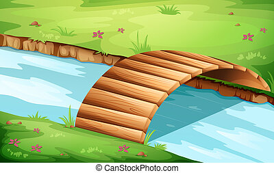 wooden bridzs, folyó