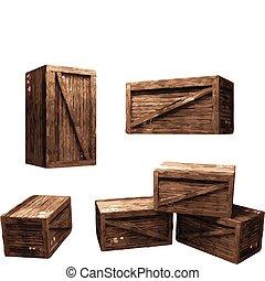 wooden rekesz, (vector)