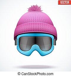woolen, évszaki, tél, sapka, hó, ábra, kötött, vektor, hat., goggles., sport