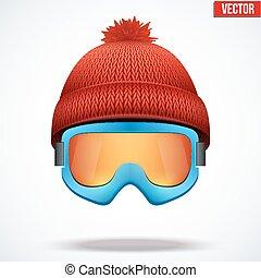 woolen, évszaki, tél, sapka, hó, ábra, kötött, vektor, hat., goggles., sport, piros