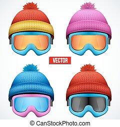 woolen, évszaki, tél, sapka, hó, kötött, hat., goggles., sport