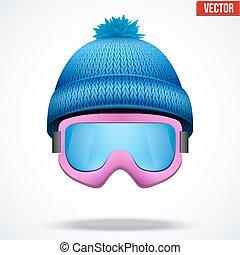 woolen, kék, tél, sapka, hó, ábra, kötött, vektor, évszaki, hat., goggles., sport