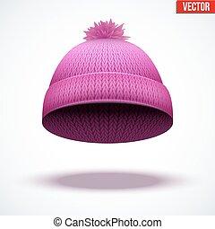 woolen, rózsaszínű, tél, ábra, kötött, cap., vektor, évszaki, hat.