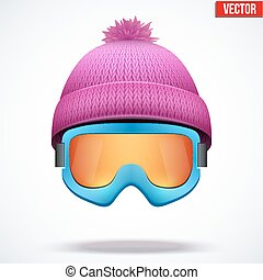 woolen, rózsaszínű, tél, sapka, hó, ábra, kötött, vektor, évszaki, hat., goggles., sport