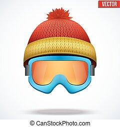 woolen, sapka, hó, kötött, goggles., piros