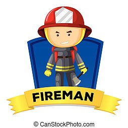 wordcard, foglalkozás, tűzoltó