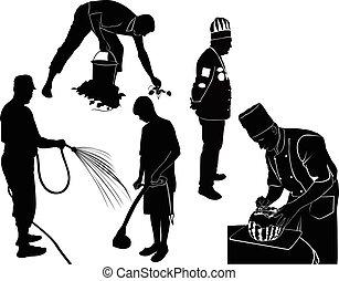 work., emberek, munkás, munka, farm., általános