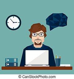 working., üzletember, hivatal, vektor, nehéz